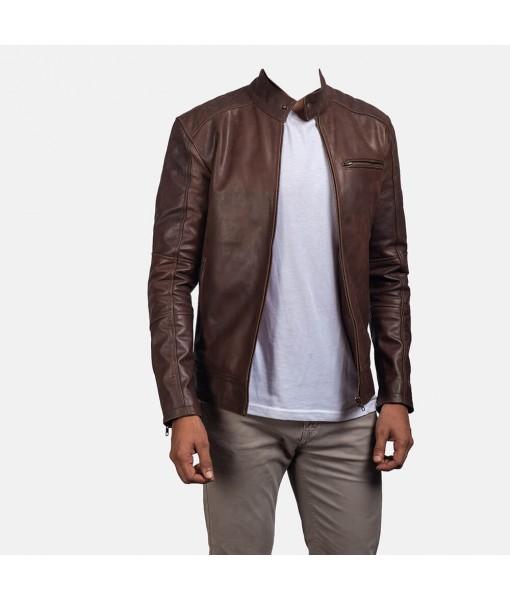 Dean Brown Leather Biker ...