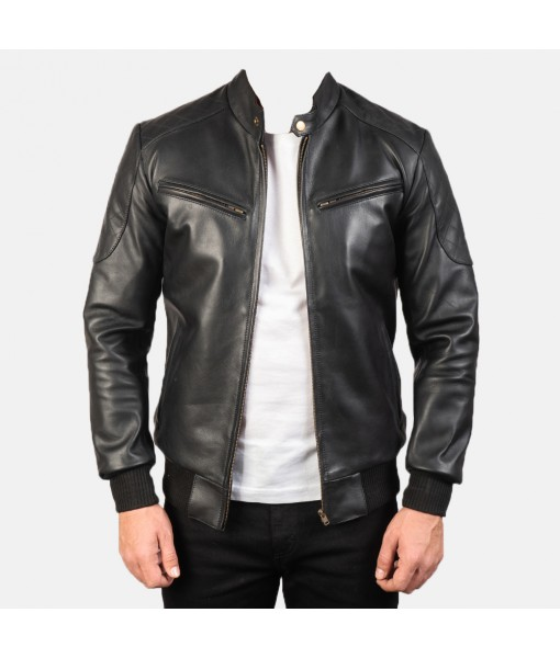 Sven Black Leather Bomber...