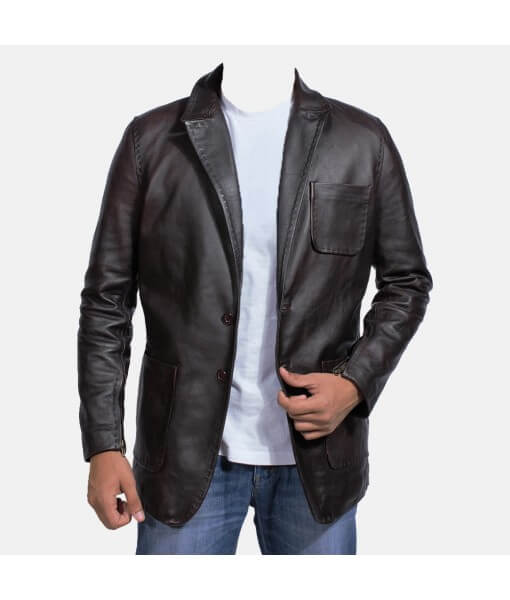 Wine Black Leather Blazer