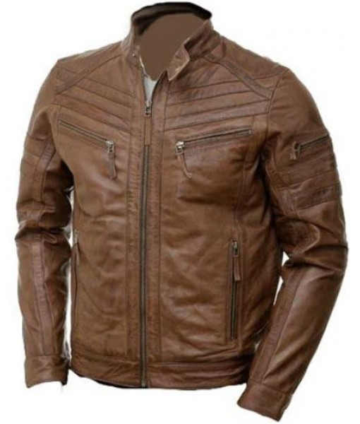 Brown Moto style Jacket with patterns