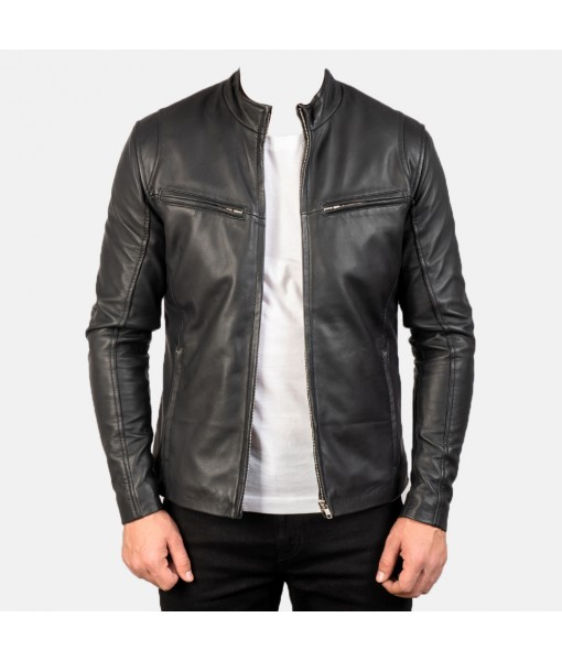 Ionic Black Leather Jacke...