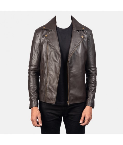 Noah Brown Leather Biker ...