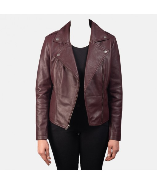 Flashback Maroon Leather Biker Jacket
